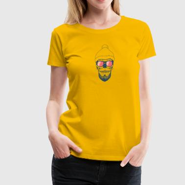 Skull design with a beanie and glasses - Women's Premium T-Shirt