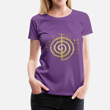 Reiki Gold Choku Rei Symbol and Reiki Precepts - Women's Premium T-Shirt