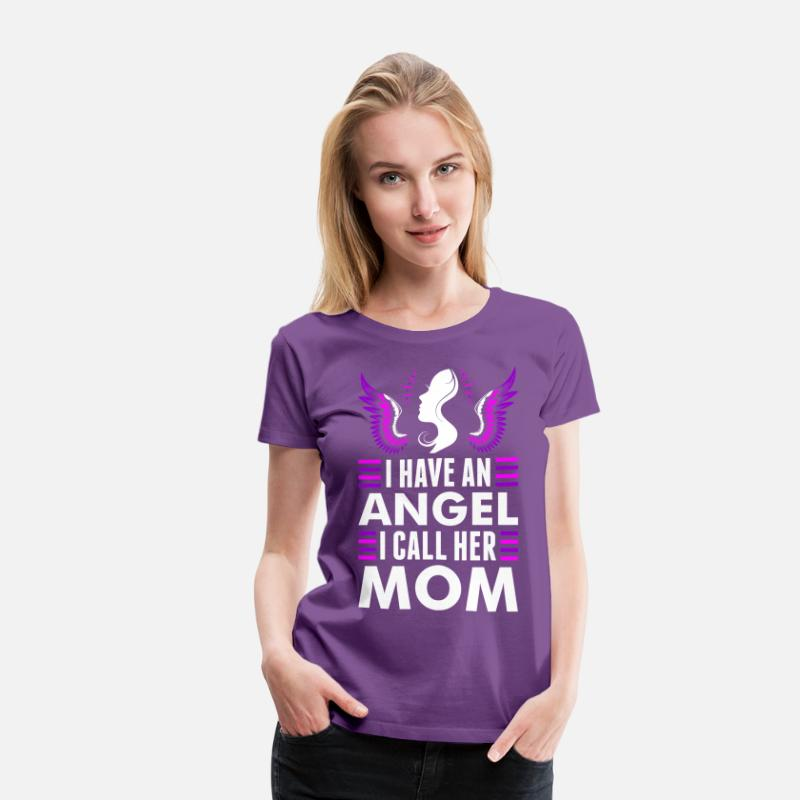 Journey T-Shirts - I Have An Angel I Call Her Mom - Women's Premium T-Shirt purple