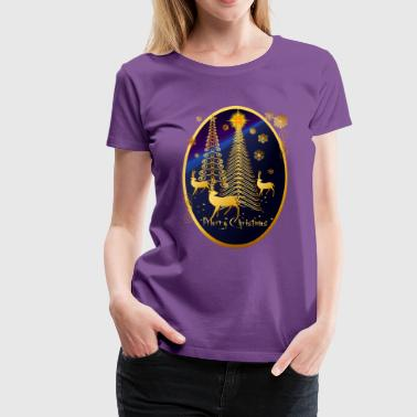 Gold Christmas Trees and Reindeer Oval - Women's Premium T-Shirt
