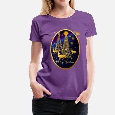 Twinkle Gold Christmas Trees and Reindeer Oval - Women's Premium T-Shirt