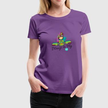 Girl aviator flying an old plane - Women's Premium T-Shirt