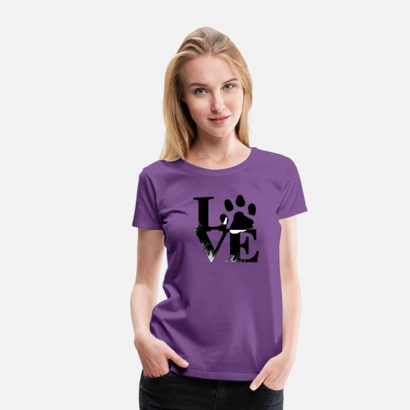 Dog T-Shirts - Love Dog - Women's Premium T-Shirt purple