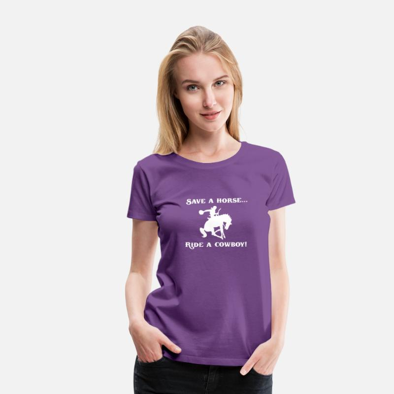 Countrymusic T-Shirts - Save a Horse Ride a Cowboy - Women's Premium T-Shirt purple