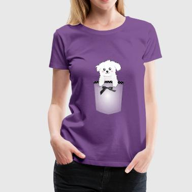 Cute Pocket Puppy Dog - Women's Premium T-Shirt
