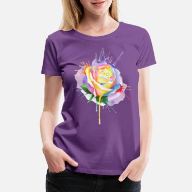 Nature Collection watercolor painting rose bud - Women's Premium T-Shirt