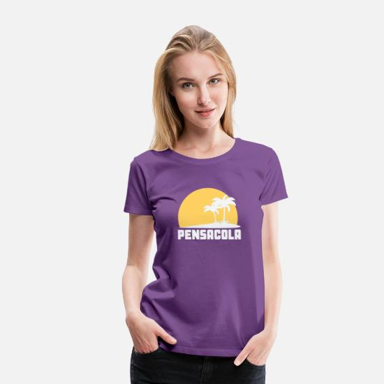 Beach T-Shirts - Pensacola Florida Sunset Palm Trees Beach - Women's Premium T-Shirt purple
