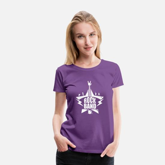 Guitar Player T-Shirts - Rock Band - Women's Premium T-Shirt purple