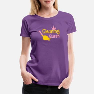 Cleaning Service Cleaning QUEEN with a crown and sweeping broom - Women's Premium T-Shirt