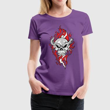 flaming skull - Women's Premium T-Shirt
