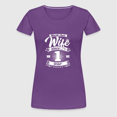 Wedding Day 1st Anniversary Gift Wife Spouse - Women's Premium T-Shirt