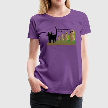Cat Visits Easter Island - Women's Premium T-Shirt