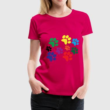 Colorful dog paws - Women's Premium T-Shirt
