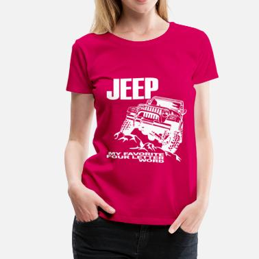 4 Words Jeep - 4 Letter Word - White - Women's Premium T-Shirt