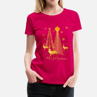 Decoration Gold Christmas Trees and Reindeer - Women's Premium T-Shirt