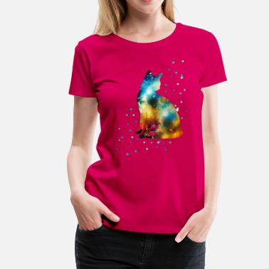 Pussy Space Space Cat on the Milky Way, Galaxy, Kitty, Star - Women's Premium T-Shirt