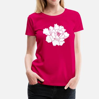 Pink Peony Flower Peony Flower Vector - Women's Premium T-Shirt