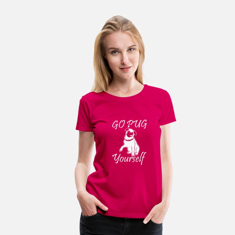 Pet T-Shirts - Go Pug Yourself - Women's Premium T-Shirt dark pink