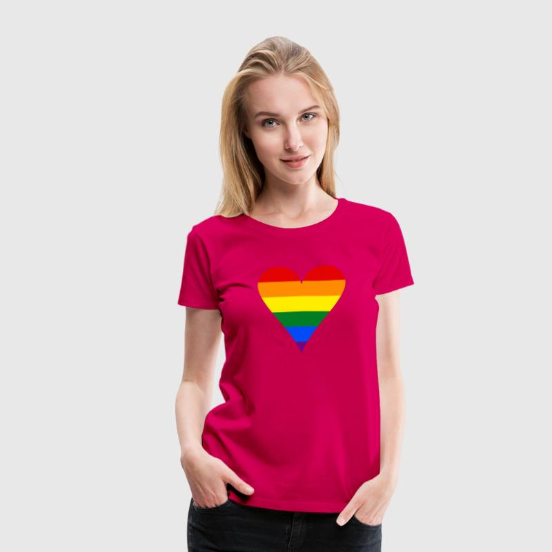 Gay Pride Rainbow Heart Funky - Women's Premium T-Shirt