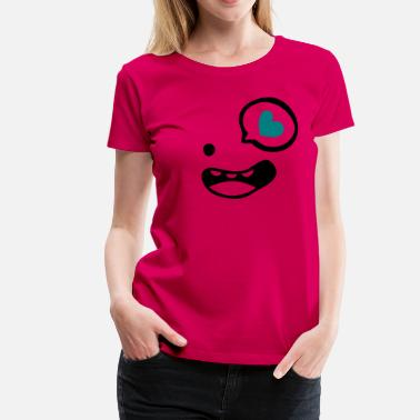 Smiling Heart heart with  smile face - Women's Premium T-Shirt