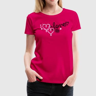 Big Heart Two big hearts with rose - Women's Premium T-Shirt