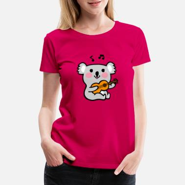 Koala Cartoon Koala playing guitar - Women's Premium T-Shirt