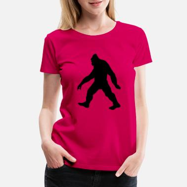 Hairy Bigfoot hairy monster with fur in forest - Women's Premium T-Shirt