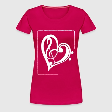 Treble clef & bass clef heart - Women's Premium T-Shirt
