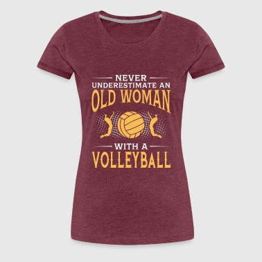 funny An Old Woman With A Volleyball - Women's Premium T-Shirt