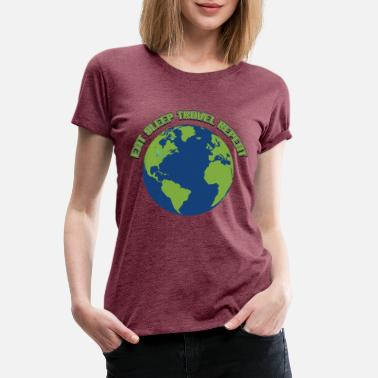 Repeat Eat sleep travel repeat world - Women's Premium T-Shirt