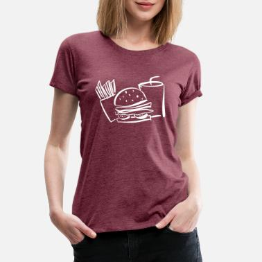 Tasty burger white hamburger hunger beef salad fast food - Women's Premium T-Shirt