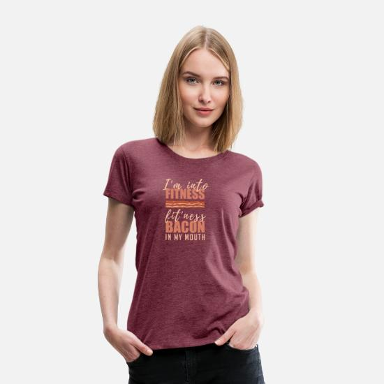 Belly T-Shirts - Bacon Anti Fitness Funny Pork Meat Lovers Gift - Women's Premium T-Shirt heather burgundy
