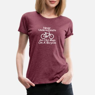 Cycle Symbol Funny Never Underestimate An Old Man On A Bicycle - Women's Premium T-Shirt