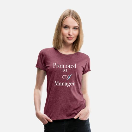 Love T-Shirts - Promoted to Manager | Mr & Mrs | front and back - Women's Premium T-Shirt heather burgundy