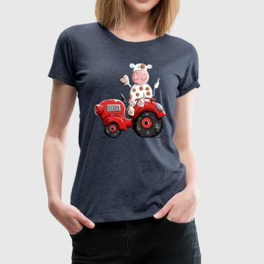 Cow drives tractor - Cows - Funny - Gift - Farm - Women's Premium T-Shirt