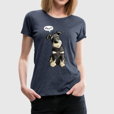 Play Schnauzer Dog Cartoon - Gift - Fun - Dogs - Women's Premium T-Shirt