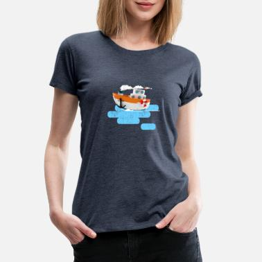 Tug boat 3d illustration distressed effect - Women's Premium T-Shirt