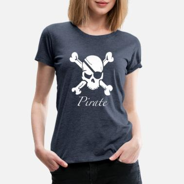 Party Skeleton Cool Pirate Skull and Crossbones - Women's Premium T-Shirt