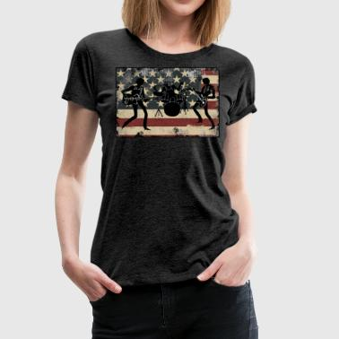 Uk Rock Band American Flag Vintage Rock and Roll Band Gift for Men and Women - Women's Premium T-Shirt