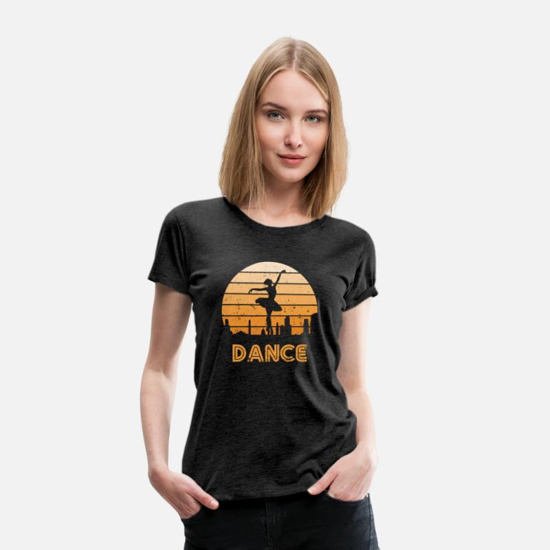 70s T-Shirts - Retro Sunset Dance Ballet Girls - Women's Premium T-Shirt charcoal gray