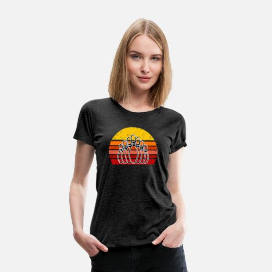 Retro T-Shirts - Retro Bowling design Gift for Bowlers - Women's Premium T-Shirt charcoal gray
