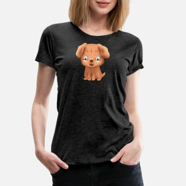 Brown Sweet happy little brown puppy dog with blue eyes - Women's Premium T-Shirt
