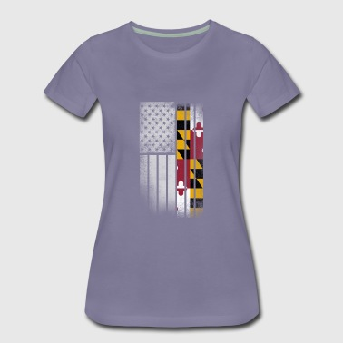 USA Vintage Maryland State Flag - Women's Premium T-Shirt