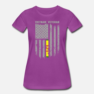 Veteran For Girls Proud Vietnam Veteran American Flag - Women's Premium T-Shirt
