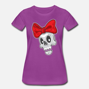 Braid Cartoon cute girl skull with a red bow - Women's Premium T-Shirt