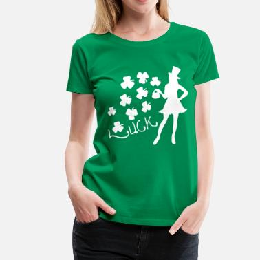 Green Clover Womens Plus Size LUCK  shamrock  Irish woman  - Women's Premium T-Shirt
