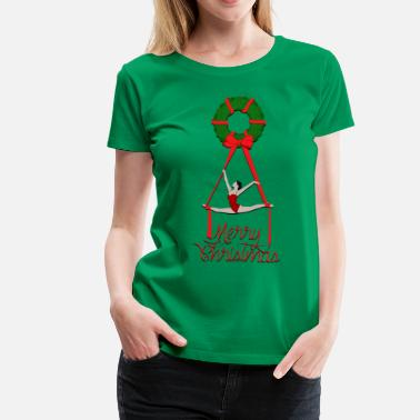 Aerial Silk Aerial Christmas Wreath - Women's Premium T-Shirt