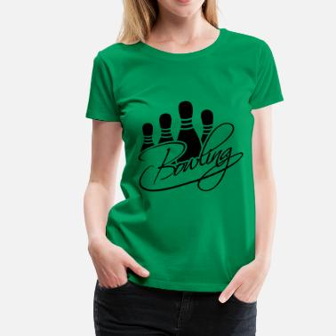 Bowling Club Bowling Pins Text Logo Design - Women's Premium T-Shirt