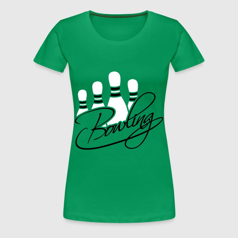 Bowling Pins Text Logo Design - Women's Premium T-Shirt