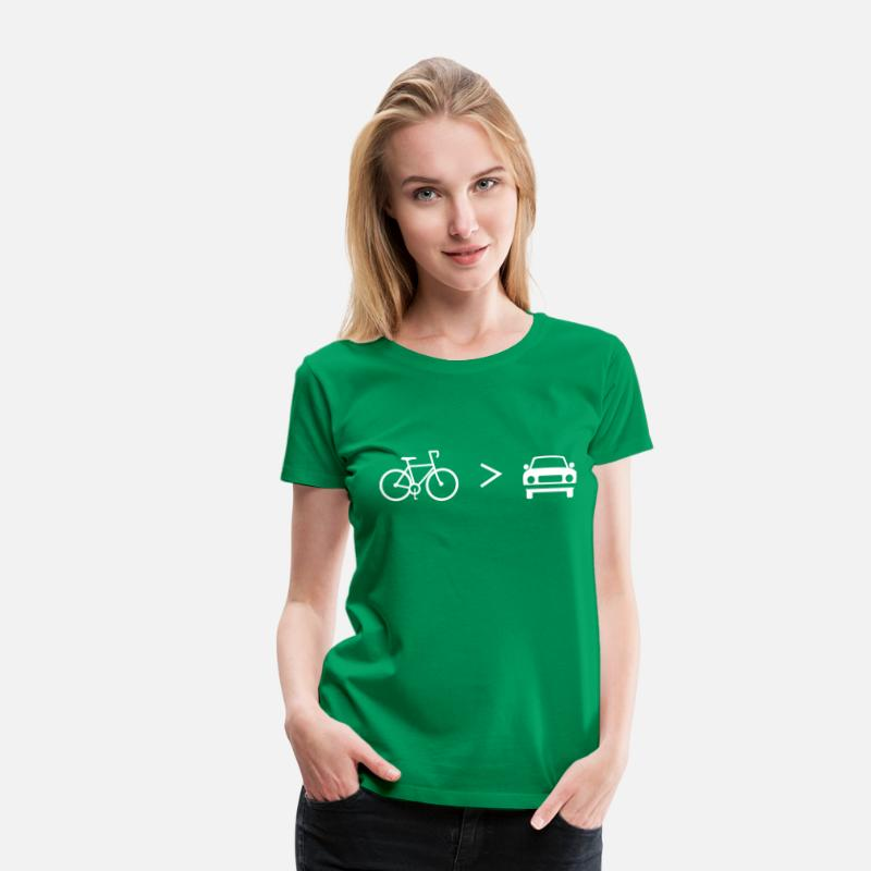 Bike T-Shirts - Bike is Greater than the car - Women's Premium T-Shirt kelly green